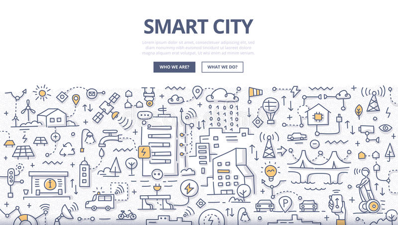 Smart City Doodle Concept. Doodle illustration of integrating information and communication technologies into city infrastructure. Smart city concept for web royalty free illustration