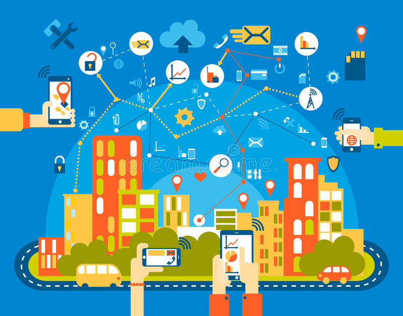 Smart city flat. Cityscape background with different icon and elements. Mobile phone control. royalty free illustration