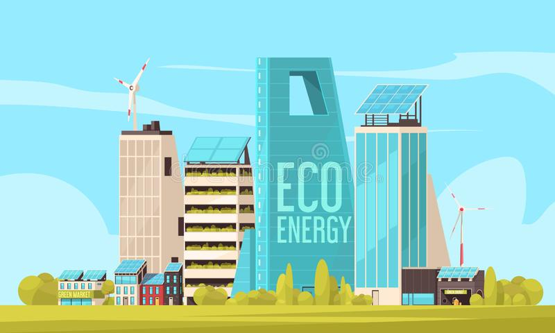 Smart City Flat Illustration stock illustration