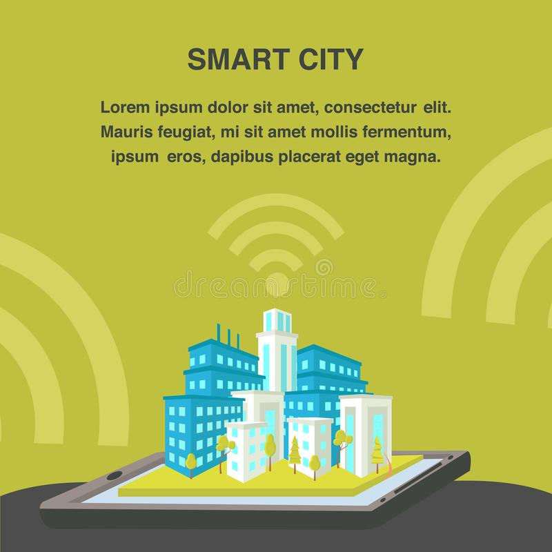 Smart City Flat Vector Banner Template. 3d Cityscape Model, Wifi Signal. Graphics Tablet with Housing Complex. Architecture Infrastructure. Cityscape Designing stock illustration