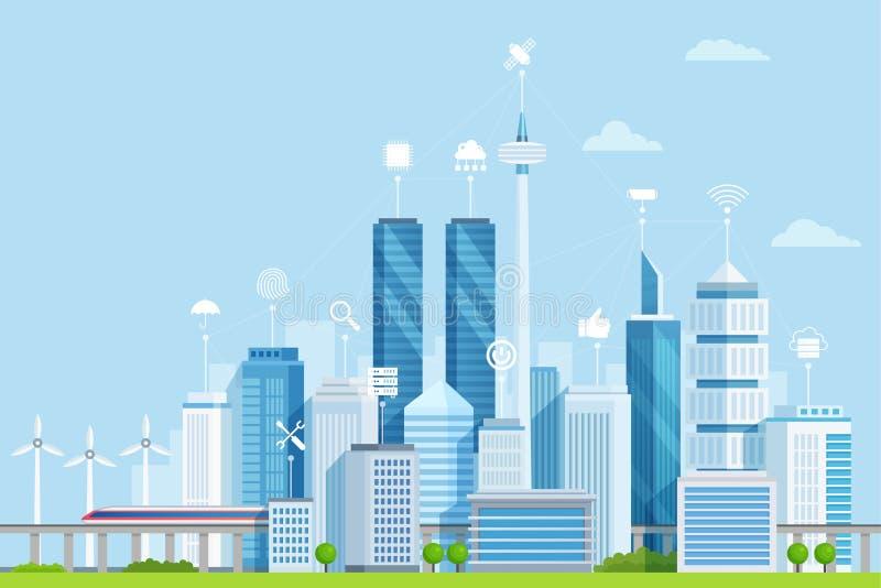 Smart city flat vector illustration. Modern urban area with digital buildings network. Cartoon skyscrapers, towers. Sending telecommunication, wifi signals vector illustration