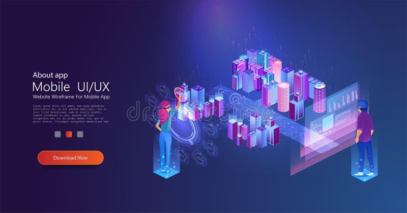 Smart City genom att använda den faktiska manöverenheten Internet royaltyfri illustrationer