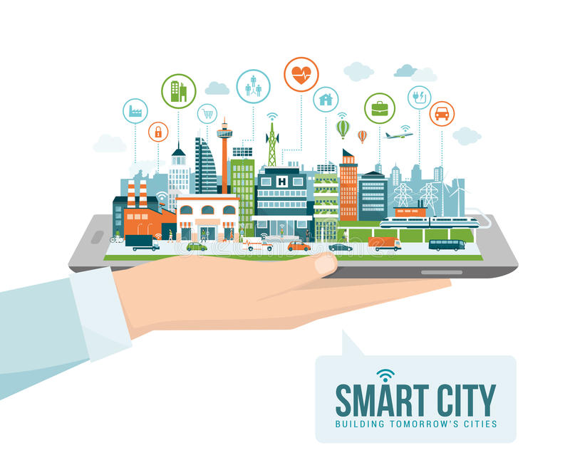 Smart city. Hand holding a digital tablet with a contemporary smart city and apps icons: augmented reality and internet of things concept vector illustration