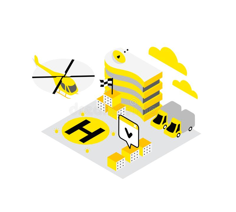 Smart city. Helicopter helipad data infrastructure isometric concept technology. Internet cloud storage heliport. stock illustration