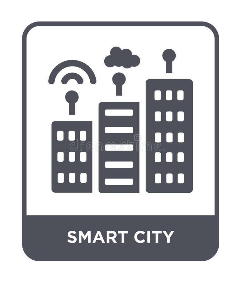 Smart city icon in trendy design style. smart city icon isolated on white background. smart city vector icon simple and modern. Flat symbol for web site, mobile vector illustration