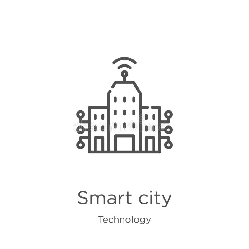 Smart city icon vector from technology collection. Thin line smart city outline icon vector illustration. Outline, thin line smart. Smart city icon. Element of vector illustration