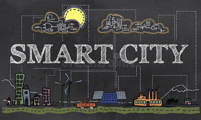 Smart City Illustration stock illustration