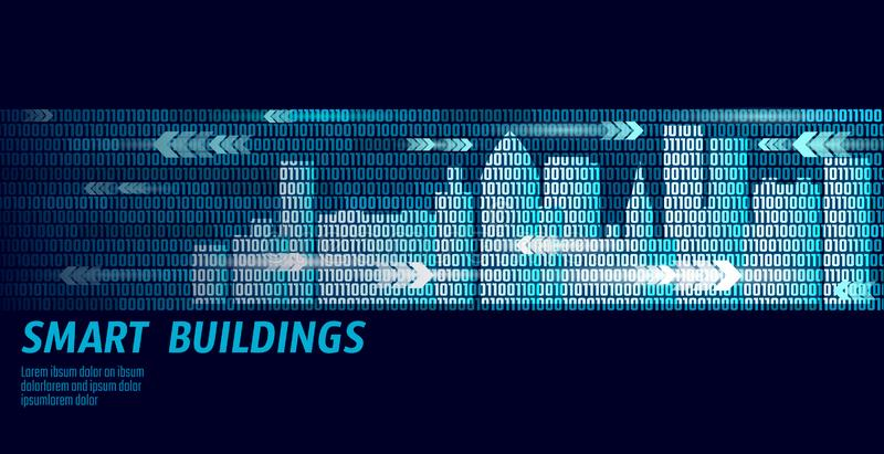 Smart city intelligent building automation system business concept. Binary code number data flow. Architecture urban. Cityscape technology sketch banner vector stock illustration
