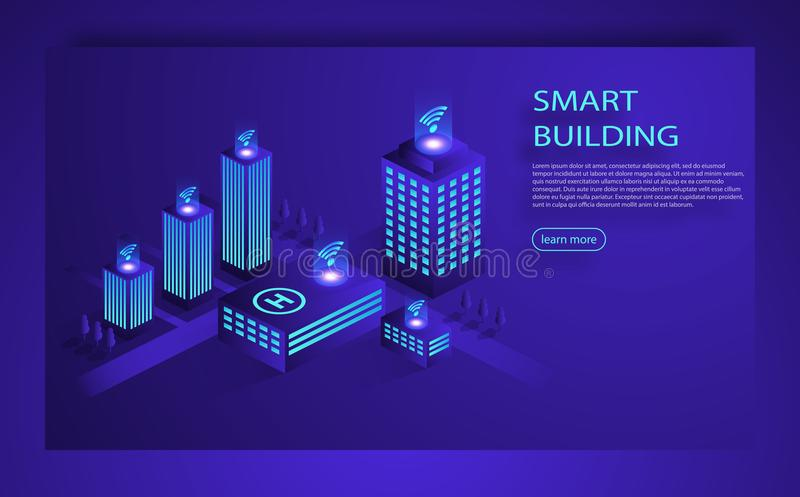 Smart city or intelligent building isometric vector concept. stock illustration
