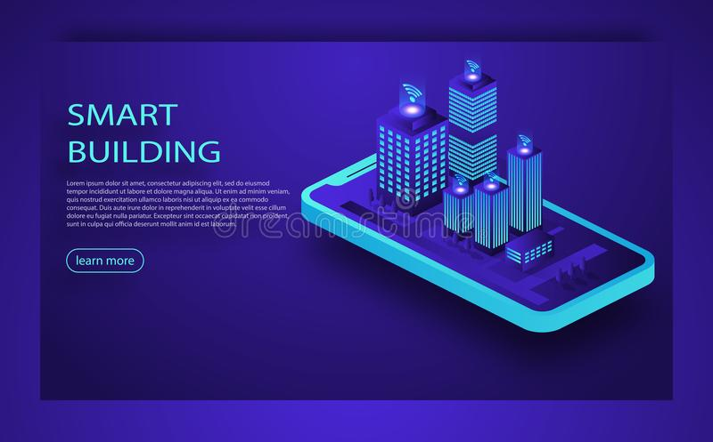 Smart city or intelligent building isometric vector concept. IoT platform future technology. Smart building Isometric concept. vector illustration