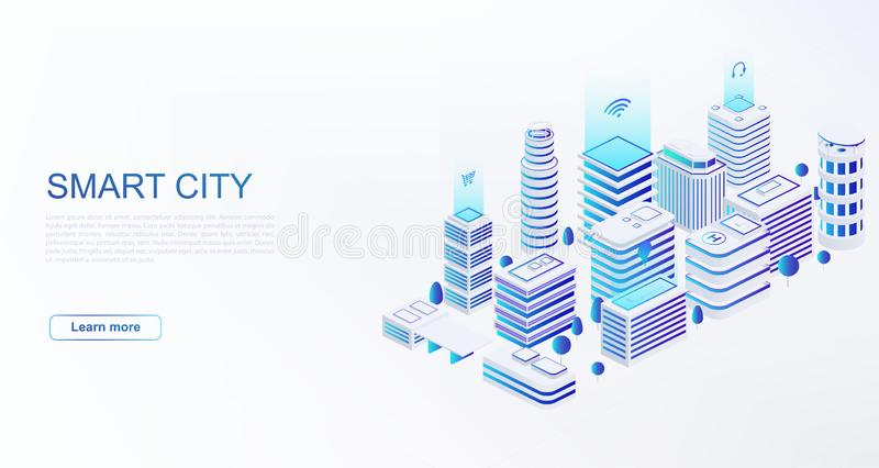 Smart city with intelligent buildings connected to computer network. Concept of building automation stock illustration