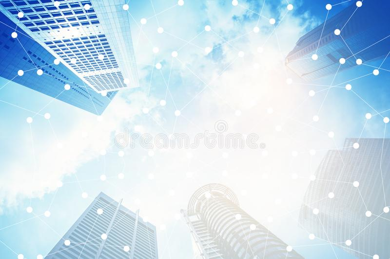 Smart city and internet, communication network connection. Smart city and internet, communication network connection on building background royalty free stock images