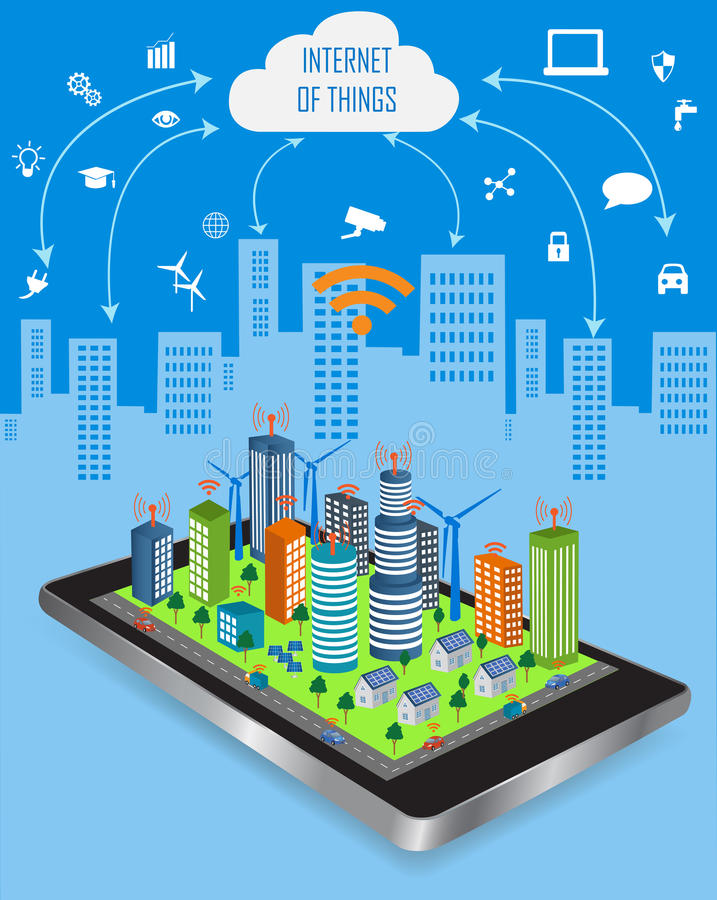 Smart City and Internet of things concept. Internet of things concept and Cloud computing technology with different icon and elements. Internet of things cloud stock illustration