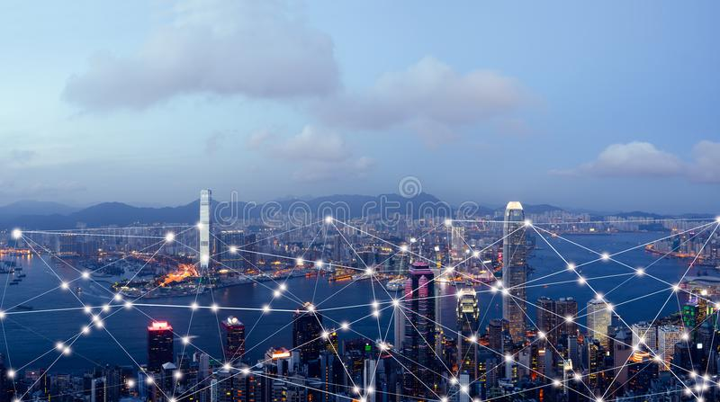 Smart city and internet of things, wireless communication network. Abstract image visual stock photography