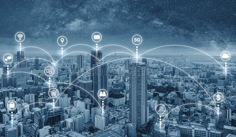 Smart city and internet wireless and networking in the city. Futuristic city with internet network and online media application. Icon royalty free stock photos