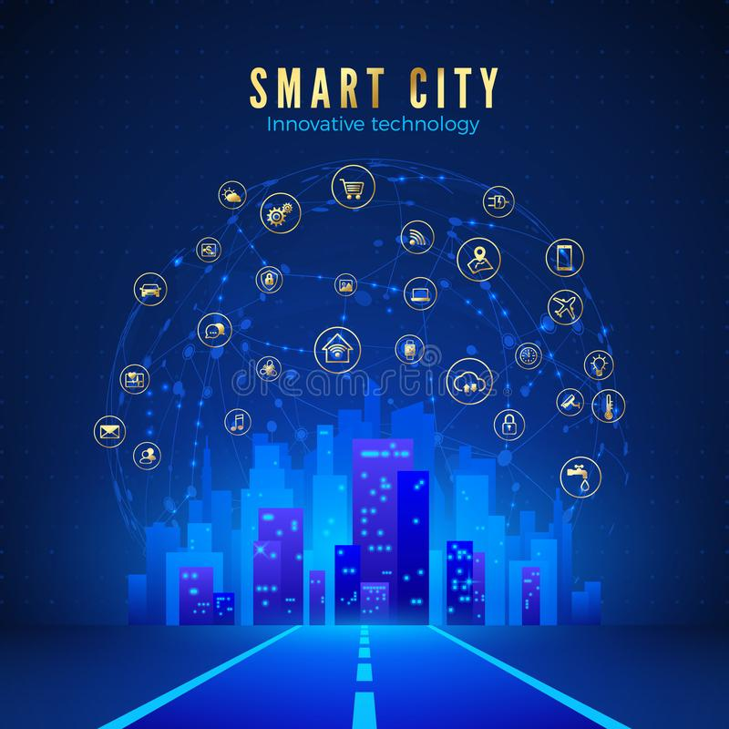 Smart city or IOT concept. Road leading to city landscape in blue color and global web with smart systems icons on background. stock illustration