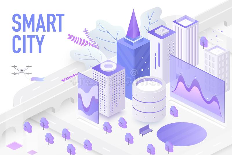 Smart city isometric. Technology devices with automated control systems. Modern 3d skyscrapers, smartphone, chart screen. Vector futuristic sustainable royalty free illustration
