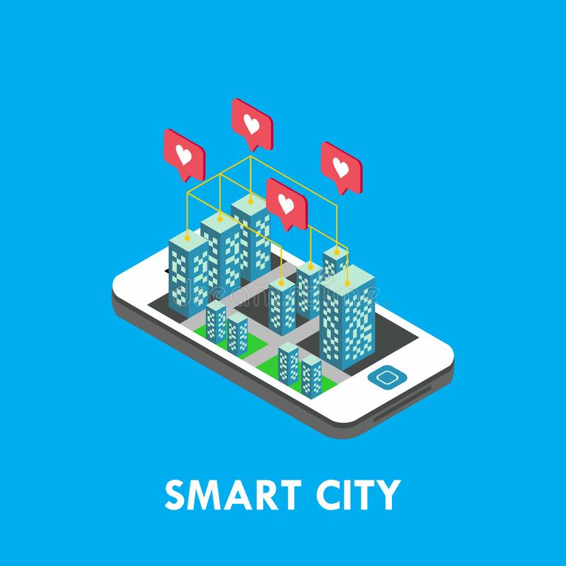 Smart City Isometric Vector Template Design Illustration. Isometric city smart vector illustration technology internet blockchain reality infographic royalty free illustration