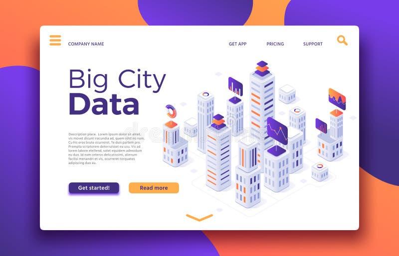 Smart City landning Affärskontorsbyggnadvärdering, fastighetbyrå eller vektor för uthyrnings- egenskap för byggnader isometrisk stock illustrationer
