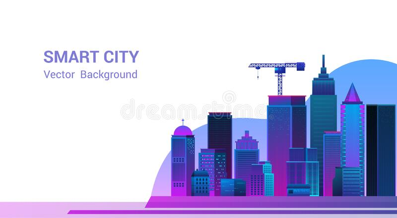 Smart city landscape with elements.Vector illustration stock photos