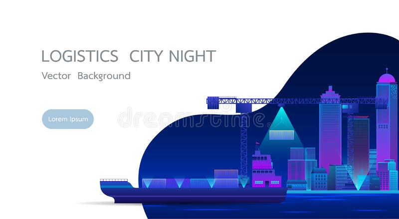 Smart city landscape with infographic elements.Vector illustration stock images