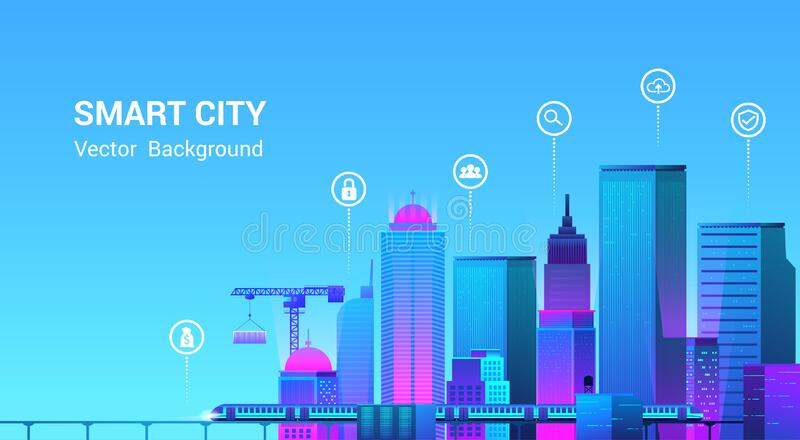 Smart city landscape with infographic elements.Vector illustration royalty free stock photos