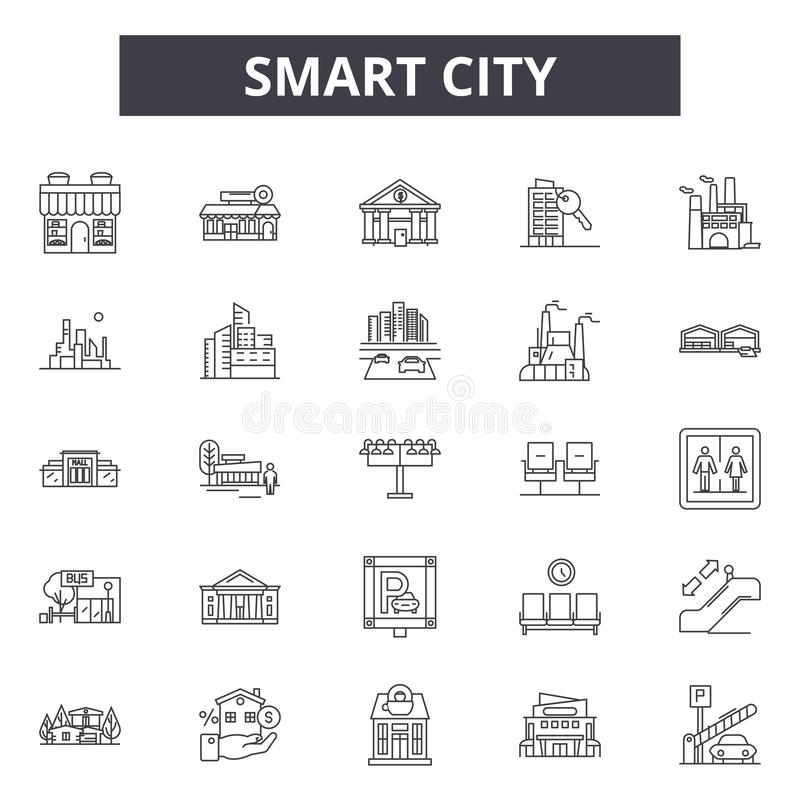 Smart city line icons, signs, vector set, linear concept, outline illustration vector illustration