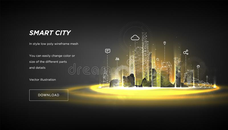 Smart city low poly wireframe.City hi tech abstract or metropolis.Intelligent building automation system business concept. royalty free illustration