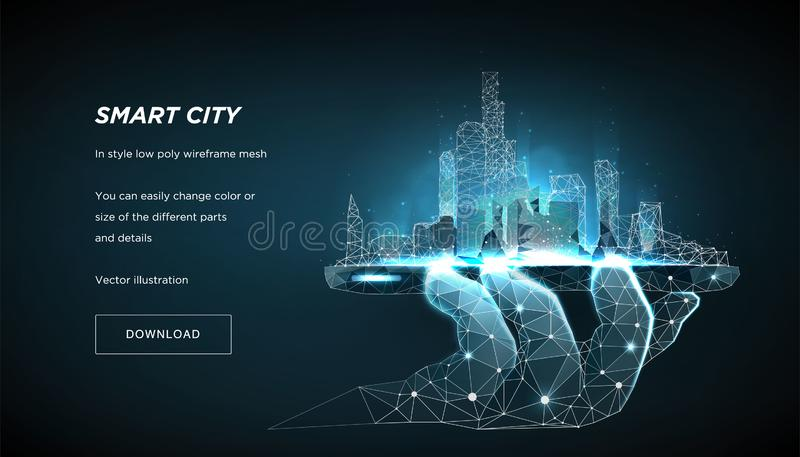 Smart city low poly wireframe. City future abstract or metropolis. Concept manage the city from the phone. Vector 3d royalty free illustration