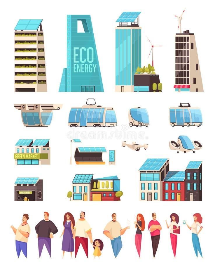 Smart City mieszkanowie Ustawiający royalty ilustracja