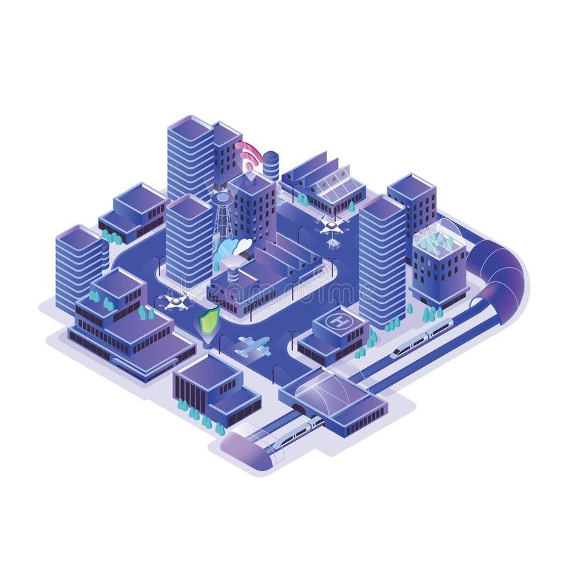 Smart city model isolated on white background. Urban area with electronically managing traffic, energy consumption. Water supply, community services. Colorful stock illustration