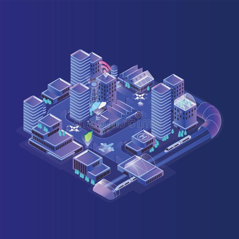 Smart city model. Modern urban area, district with electronically managing traffic, efficient energy consumption. Community services controlling through wi-fi stock illustration