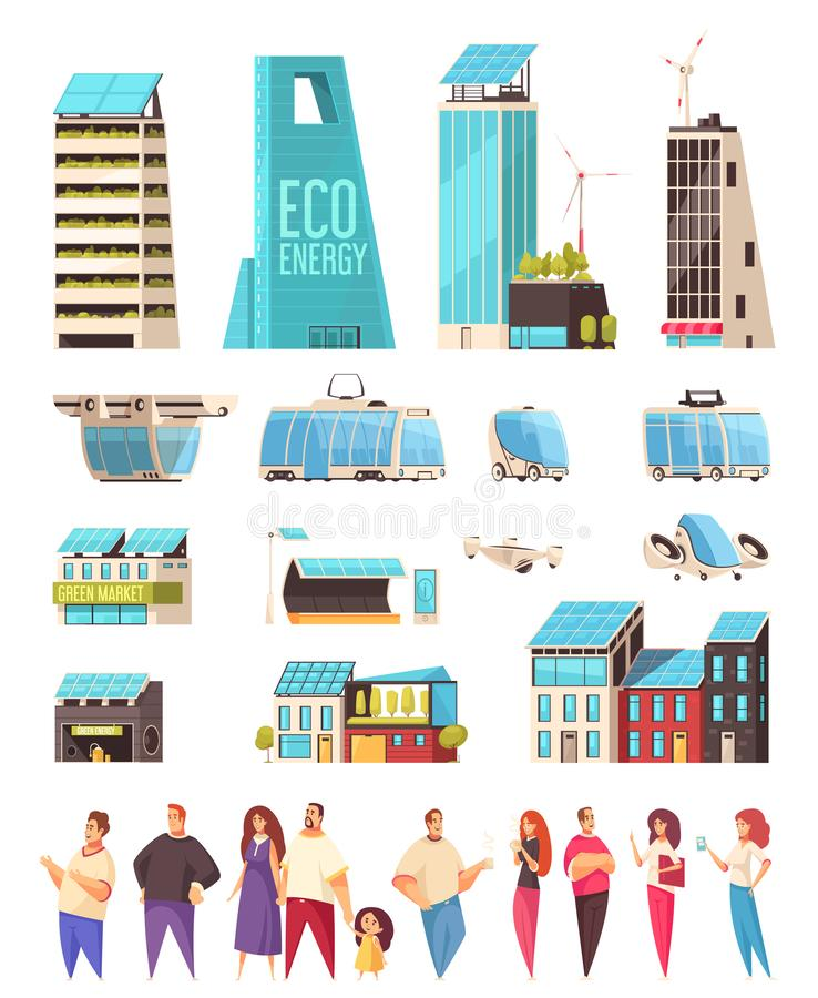 Smart City Residents Set royalty free illustration