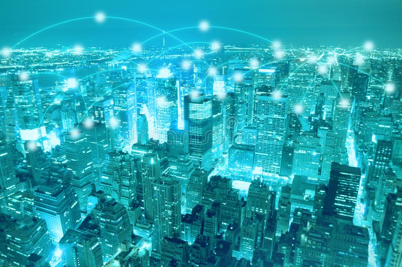 Smart city scape and network connection concept royalty free stock image