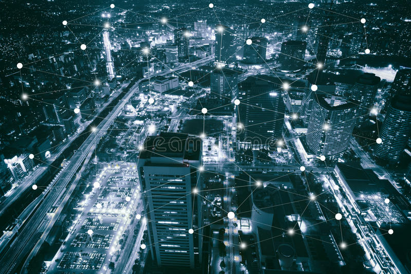 Smart city scape and network royalty free stock photo