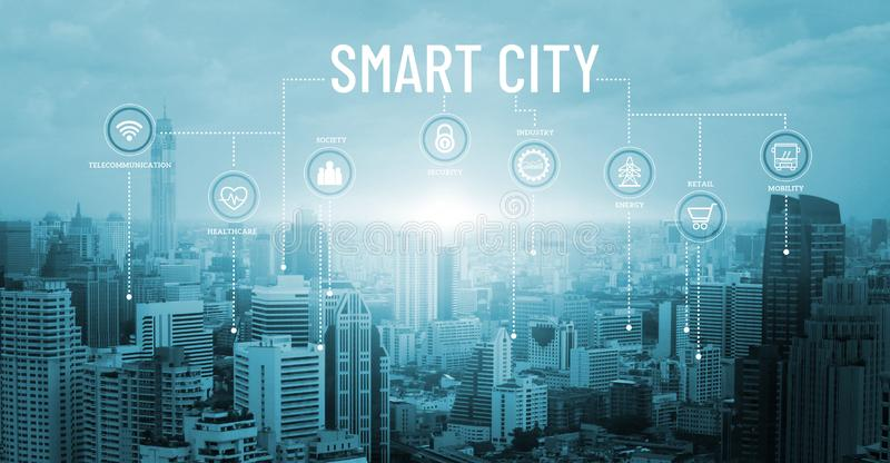 Smart city with smart services and icons, network connection stock photography