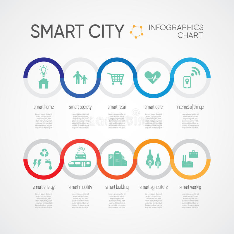 Smart city with simple chart. Infographic detail and icon stock illustration