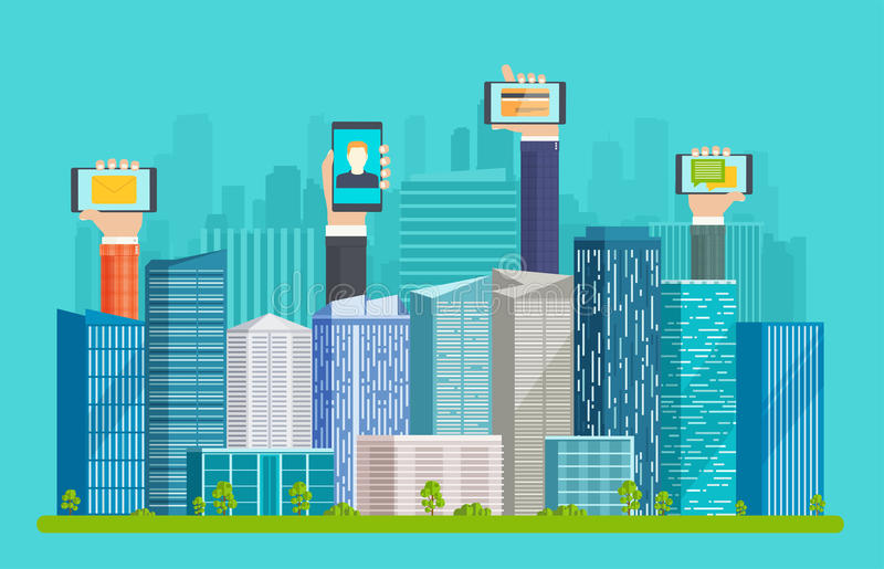 Smart city with skyscrapers and hands. royalty free illustration