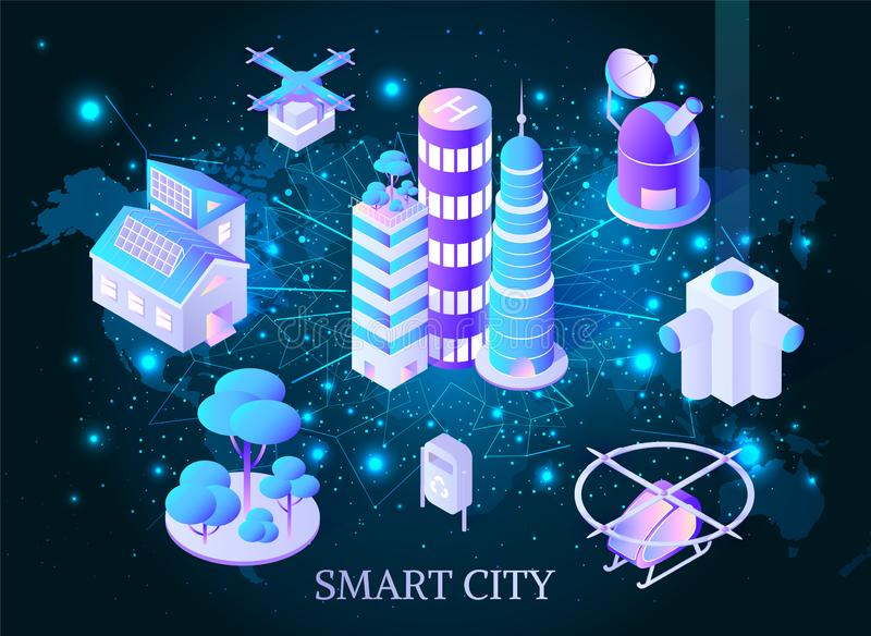 Smart City Skyscrapers with Helicopters Poster royalty free illustration
