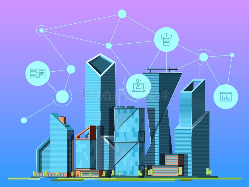 Smart city. Skyscrapers in urban landscape high technology environment wireless cityscape vector background picture stock illustration