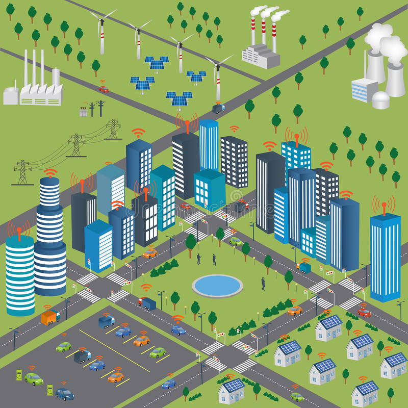 Smart city Smart Grid and Wireless network of vehicle royalty free illustration