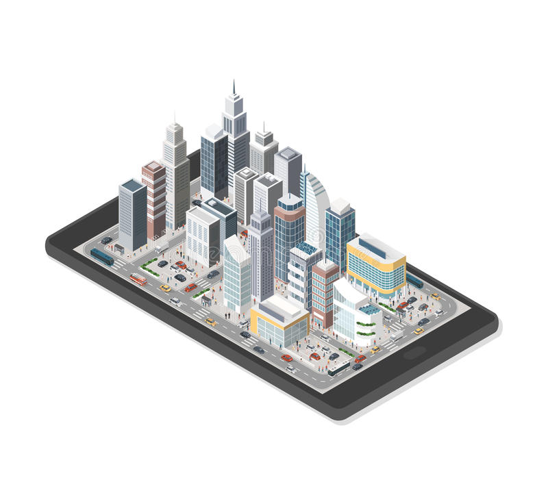 Smart city on a smartphone. Contemporary isometric smart city on a digital tablet with skyscrapers, people and vehicles on white background stock illustration
