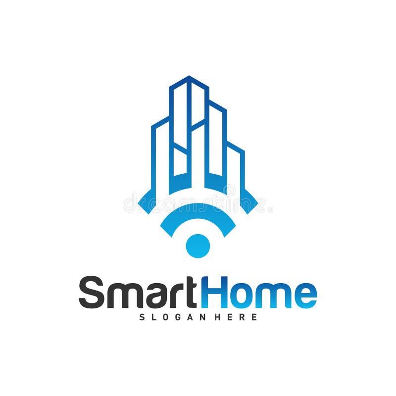 Smart City Tech Logo Vector. City Net Logo Concept Vector. Wifi House Vector Logo.  stock illustration