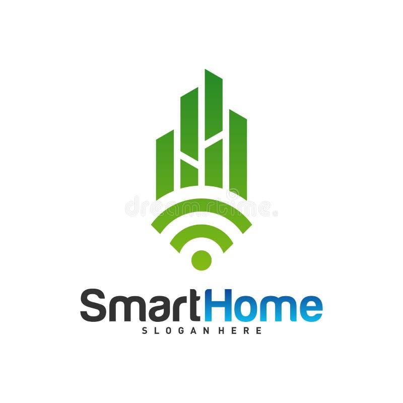 Smart City Tech Logo Vector. City Net Logo Concept Vector. Wifi House Vector Logo.  royalty free illustration