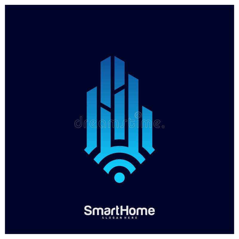 Smart City Tech Logo Vector. City Net Logo Concept Vector. Wifi House Vector Logo.  vector illustration