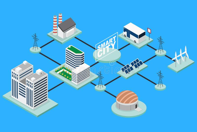Smart City Technology Conceptual Isometric Illustration stock illustration