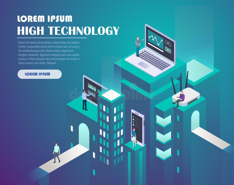 Smart city technology. High technology concept. Landing page template. Header for website. Isometric vector illustration stock illustration