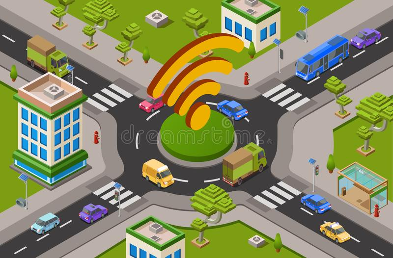 Smart city traffic and wifi on crossroad isometric 3D vector illustration of modern urban transport internet technology. Smart city transport and wifi technology royalty free illustration