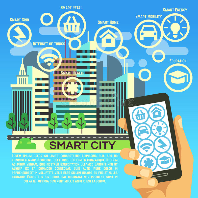 Smart city vector flat concept with internet thing, business communication and technology icons vector illustration