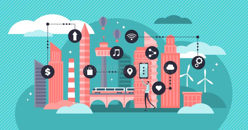 Smart city vector illustration. Flat tiny data collection persons concept. royalty free illustration